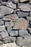 Detail, kamenná zeď suchá postavený láva — Stock fotografie