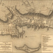 Map of the town of Newport Rhode Island, 1777. - Stock Photo