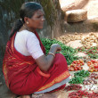 Indian woman sells chilis - Stock Photo