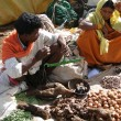 Tribal women sell fresh vegetables — Stock Photo
