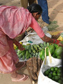 Indian woman in saree chooses fruit — Stock Photo