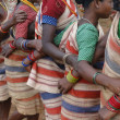 Village women link arms for  Gdaba harvest dance — Stock Photo
