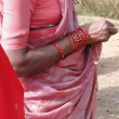 Detail, Indian tribal woman in saree with bangles — Photo