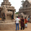 Stock Photo: Inditourists explore ancient temples