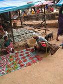 Indian woman sells chilis — Stock Photo