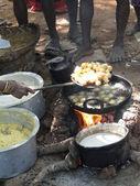 Woman frying snacks — Foto Stock