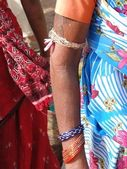 Detail, Indian tribal woman in saree with bangles — Stock Photo