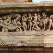Sculptures of loving couples, illustrating the Kama Sutra — Stock Photo