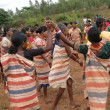 Village women link arms for  Gdaba harvest dance — Stok fotoğraf