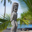 Carved wooden statue of ancient Hawaiian god - Photo