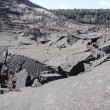 Stock Photo: Trail through volcanic debris