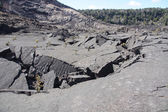 Trail through volcanic debris — Stock Photo