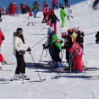 French children form ski school groups — Stock Photo