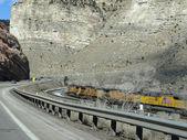Yük treni dar bir kanyonda çalışır — Stok fotoğraf