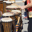 Drummers playing at a Saturday market Penticton, British Columbi — Stock Photo
