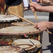 Drummers playing at a Saturday market — Stock Photo