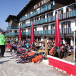 Stock Photo: French holiday skiers relax at an outdoor restaurant