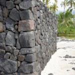 Постер, плакат: Ancient Hawaiian volcanic stone wall