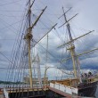 Stockfoto: Labor Day brings tourists to explore 19th century sailing s