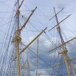Masts, rigging and yardarms — Stock Photo