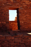 Detail, stone wall of ancient pueblo house — Stock Photo
