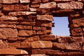 Detail, ancient stone walls, Lomaki Pueblo — Stock Photo