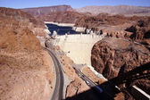 Hoover Dam, Lake Mead and highway — Stock Photo