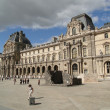 Tourists gather in courtyard of Louvre Museum — Stock Photo #37678473