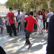 Stock Photo: Hip-Hop breakdancers compete in pairs,