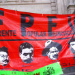 Protest flag with pictures of Pancho Villa and Che Guevara — Stock Photo #37690205