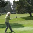 Stock Photo: Womgolfer teeing off