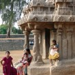 Stock Photo: Inditourists explore ancinet temples of Five Rathas