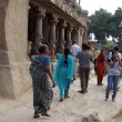 Stock fotografie: Inditourists explore ancinet temples of Five Rathas