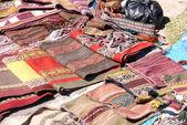 Colorful handmade blankets — Stock Photo