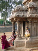Indian tourists explore ancinet temples of the Five Rathas — Stock Photo