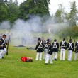 Stock Photo: Union infantry line firing volley