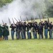 Stock Photo: Union infantry line firing