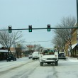 Winter traffic in small town — Stock Photo