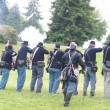 Stock Photo: Union infantry line firing volley.