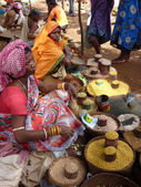 Tribal woman sells lentils and pulses — Stock Photo