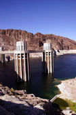 Towers and turbines on Hoover Dam — Stock Photo