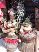 Christmas decoration outside a rustic alpine restaurant — Stock Photo