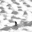 Stock Photo: Silhouette of skier in moguls and bumps