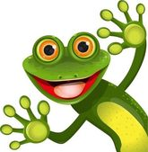 Merry green frog — Vector de stock