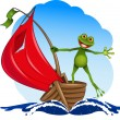 Frog on a boat — Stock Vector #13671822