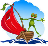 Frog on a boat — Stock Vector