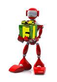 Robot s dárkem — Stock fotografie