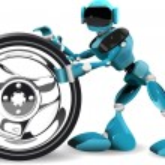 Robot and wheel — Stock Vector