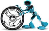 Robot e ruota — Vettoriale Stock