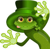 Green frog wearing a hat of Saint Patrick — Stock Vector